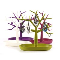 Tree Branch Jóias Holder Bandeja Jóias plásticas Display Stand Rings Hook Brincos Necklaces Organizador para Counter Desktop 11 polegadas de altura