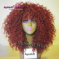 Wholesale Kinky Big Hair Wig - Beauty Bahamas Kinky Curly Hair Wig Synthetic Burgundy Red Color Lace Front Wig Fluffy Big Hair Lace Front Wigs for Black Woman