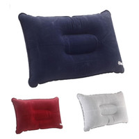 Wholesale Backpacking Pillow - Outdoor Pads Double Sided Flocking Camping Travel Inflatable Pillow Portable Suede Fabric Folding Pillow Outdoor Plane Hotel Cushion