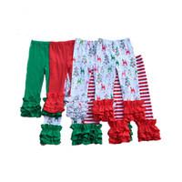 Wholesale Ruffle Leg Baby Pants - Spring and Autumn Ruffle Baby Girls Skinny Pants Christmas Children Trousers Western Girls Legging Reindeer Print