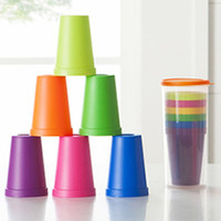 Wholesale Household Tool Set Wholesale - Rainbow Cup Set Plastic Seven Pcs With A Storage Cup Outdoor Portable Picnic Tourism Practical Household Tool 5 5qj F R