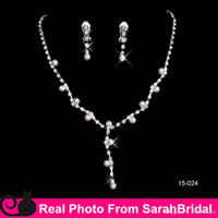 Wholesale Clips For Plating - 2017 New Cheap Holiday Bling Pearls Bridal Jewelry Set Necklaces Rhinestones Pendant and Clip chandelier Earrings For Party Weddings Prom