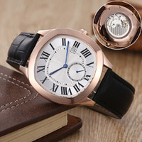 Wholesale Black Gold Saw - luxury brand fashion new watches men white face black leather belt gold watch Drive de automatic see through watch men's casual wristwatches