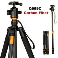 dslr için bilyalı tripod toptan satış-Orijinal QZSD Q999C Profesyonel Karbon Fiber DSLR Kamera Tripod Monopod + Topu Kafa Taşınabilir Fotoğraf Kamera Standı daha iyi Q999 ADEDI: 1 ADET
