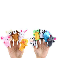 Wholesale Design Puppets - Wholesale- Cute 10 Pcs Plush Compact Design Zoo Animal Finger Puppets Cloth Doll Educational Hand Puppets Toys Gift for Children