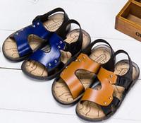 Wholesale Kids Heels For Sale - EUR 20-32 Summer Beach Cartoon Sandals Little Kids Children Shoes For sale cheap brand Girl Boy Slip yellow blue 1-6 years