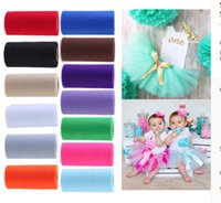 Wholesale organza gift bows - 54 Colors Pick Wedding Tulle Roll 15cm width x 22.5m Tulle Fabric Tutu DIY Skirt Gift Craft Party Bow Organza Roll Dress Tulle