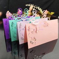 Wholesale Pack Wedding Invitation Cards - Wholesale- Wedding Supplies 100pcs pack Pierced Laser Cut Butterfly Wedding Party Table Name Place Cards Wedding Invitations 5CD045