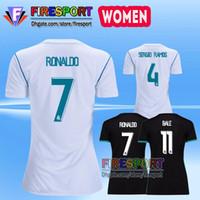 Wholesale Girls Black White Shirts - Women Ronaldo Camisetas de Futbol Madrid 2017 Soccer Jerseys Real Chandal Madrid Women Football Shirts 17 18 JAMES RAMOS Woman Soccer shirt