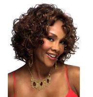 peinados rizados cortos para afroamericanos al por mayor-Sintetico Fibras Black Femininas pelucas de pelo rizado corto Afro rizado rizado de las mujeres afroamericanas Curl pelucas de bronw negro