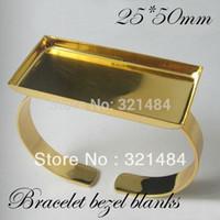 Wholesale Wholesale Rectangle Cameo Settings - Bulk 100pcs Gold plated brass metal Cuff bracelet blanks w  25*50mm Rectangle Caps bezels cameo cabochon setting
