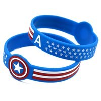 Wholesale Wholesale Unisex Watches America - Wholesale New Arrival 50PC Lot 1'' Wide Band Captain America Silicone Wristband Wrist Watch Shape Bracelet