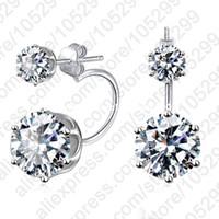 Wholesale Earing Sterling - PATICO Fashion Earing Big Cubic Zirconia Ear Jackets Jewelry High Grade 925 Sterling Silver Ear Clips Stud Earrings For Women