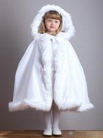 Wholesale Winter Coats Japan - White Cute Winter Wedding Coat Princess Flower Grils Bridal Cape Ivory Satin with Fur Trim Wedding Cloak Vintage Christmas Accessories 2017