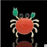 Wholesale Crab Brooches - Super strength pin drip multicolor high-grade crabs brooch brooch button scarves shawls double with animals shipping free