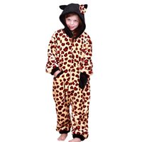 Wholesale Girl S Pajamas - Girls and Boys' Pajamas Animal Style Jumpsuit Flannel rompers Boys Girls Hooded Pajamas 3 Colors Cat and Cooleop