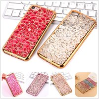 Casos do telefone da forma para o iphone 6s mais a flor de Sun galvanizam o caso luxuoso do tpu do diamante de Bling para o iphone 7 casos de 5s Samsung galaxy s7