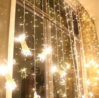 Barato Decorações De Luz De Janela-3M * 3M 300 Leds Window Curtain Icicle Lights Corda Fairy Light Wedding Party Home Garden Decorações 110V 220V Flash Fairy String Light