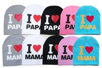 Wholesale I Love Pink Girls - Hot baby Cotton Beanie Hats New Born Fetal caps Cute Baby Boy Girl Soft Toddler Caps I love mama I love papa 5 colors choose