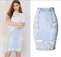 Wholesale Russian Skirts - New Sexy Denim Washed Ripped Hole Slit Skirt Knee-Length Straight Package Hip Skirt Russian Women Summer Bottoms