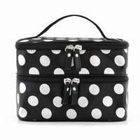 sac à main d'embrayage uni achat en gros de-Vente en gros- VSEN Hot StyleBlack Polka Dots Travel Cosmetics Make Up Bags Beauty Organizer Toiletry Purse