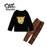 Wholesale Leopard Pants For Children - Girls clothes 2017 new spring children clothing sets costumes for kids 2pcs long-sleeved leopard T-shirt ,long pants girls sets
