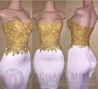 2017 New Design Imagem real White Short Prom Dresses Gold Lace Appliqued Top Halter Neck Bainha Cocktail Dresses Cheap Formal Party Wear