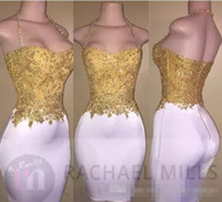 Wholesale Yellow Halter Neck Top - 2017 New Design Real Image White Short Prom Dresses Gold Lace Appliqued Top Halter Neck Sheath Cocktail Dresses Cheap Formal Party Wear