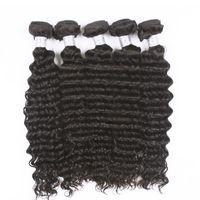 cabelo sexy venda por atacado-Uglam cabelo humano brasileiro tece onda profunda 5 pçs / lote cabelo virgem brasileiro frete grátis top vendendo estilo sexy