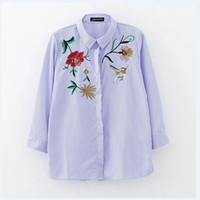 Wholesale Shirt For Woman Bird - 2017 New Spring Women Birds and Flower Embroidery Shirts Blouse Women office casual Tops Striped blouse for business LS1025