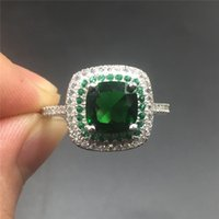 Wholesale Engagement Ring Emerald Cut - Fine Jewlery Brand 100% silod Sterling silver ring Luxury Princess-cut 4ct Emerald gemstone ring Engagement wedding bried ring for women