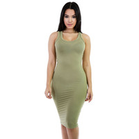 Wholesale Hot Spandex Mini Skirts - 2017 Hot Style Multicolor Packages Hip Skirt Bind The Bandage Dress Club Dress AutumnPure Color Sexy Women Dress Sleeveless Slim Women Party