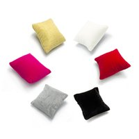 """Wholesale Metal For Jewerly - Argositment White Red Yellow Pink Gray black Velvet Jewerly Pillow Display for Watch Bracelet Bangle 3 1 2""""x3 1 2""""(6 pcs per pack)"""