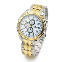 Fashion orlando bands - New Gold Shell ORLANDO Men Wristwatch Three six pin Business Dress Wristwatch Relojes Men Steel Gold Silver Band Watches