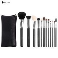 Wholesale Natural Wood Bristle Brush - 12pcs Professional Makeup Brush Top Natural Bristle Cosmetics Set with Leather Bags Case Wooden Handle Make Up Brush Set Kits