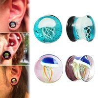 Wholesale Double Flared Acrylic Tunnels - 1Set=5 Pairs Punk 8-16mm Colorful Jellyfish Glass Ear Plugs Expander Gauges Tunnel Double Flared Ear Piercings Jewelry 2017 New