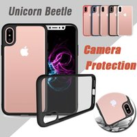 Wholesale Iphone Lens Cover - Unicorn Beetle Hybrid Camera Lens Protection Bumper Ultra Slim Transparent Case Cover For iPhone X 8 7 6 6S Plus 5 5S Samsung Note 8 S8