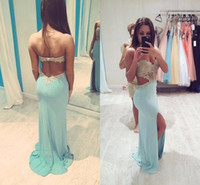 Wholesale Long Baby Blue Prom Dresses - Sexy Hot Pinned Baby Blue Evening Dress Backless Sweetheart Neckline Sparkly Golden Appliques Chiffon Side Slit Mermaid Prom Dress