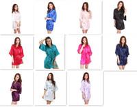 Wholesale Onesies Dress - 10pcs 11 colors Ladies womens Solid plain rayon silk short Robe Pajama Lingerie Nightdress Kimono Gown pjs Women Dress elegant M010