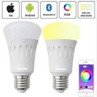 Wholesale Multi Color Led Bulbs E27 - 6W Wireless WIFI LED Bulb Lamp RGBW Smart bulb Multi-color Brightness Dimmable Remote Control By Smart Phone APP for iOS Android E27