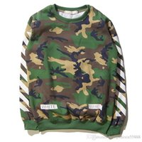 Wholesale Rap Hoodies - OFF WHITE Hoodies Men Kanye West Hip Hop Rap Camouflage Cotton Hoodies Men Tops OFF WHITE Camouflage Sweatshirts