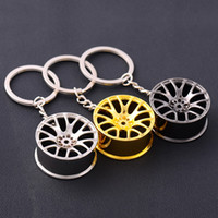 Wholesale Automotive Rims - 100pcs Lot Automotive Wheel Hub Keychain Auto Tire Rims Key Chain Auto Parts Keychains Autoparts Keyring