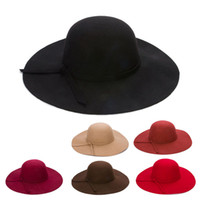 Wholesale orange floppy hat resale online - Autumn Winter Wide Brim Hats for Women Girls Children Vintage Wool Felt Bowler Fedoras Solid Floppy Cloche Parent child Cap Hat