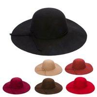 vintage girl hat wide brim 도매-가을 겨울 여성용 모자 와이드 브림 모자 여자 아이들 빈티지 양털 중독자 Fedoras 솔리드 플로피 클로시 부모 - 자식 모자 모자