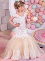 Incredibile Mermaid Flower Girls Abiti per matrimoni Champagne Cap maniche in pizzo Bambini Holy First Comunione Dress Little Pageant Gowns FD20