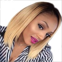 Wholesale Hair Wigs Short Blond - Glueless Virgin Brazilian straight Short Cut Human Hair Lace Front Wigs Full Lace Wigs For Black Women ombre blond Bob Style wig