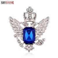 Wholesale Silver Color Brooches Blue - Blue Crystal Brooches for Women Gold Silver color Crown Wing Men Brooch Lapel Pin Black Rhinestone Broches Jewelry Fashion Badge