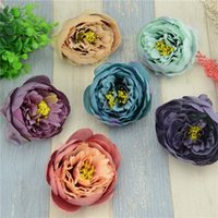 Discount wholesale large flower brooches - Wholesale- 3pcs lot 10cm Large Silk Peony Artificial Flower Head For Wedding Decoration DIY Garland Real Touch Brooch Fake Flowers