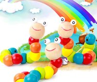 Wholesale Toy Colorful Caterpillars - Wood caterpillar17cm 2 styles Cute Colorful Changing Caterpillar Early Education Puzzle Wooden Toy for Baby toy baby gift free shipping DHL