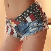 Wholesale Denim Tie Dye Shorts - Wholesale- Lucky Ben USA National Flag Printing Women's Denim Short Pants Jeans Hot shorts summer 2016 New free shipping size S-L